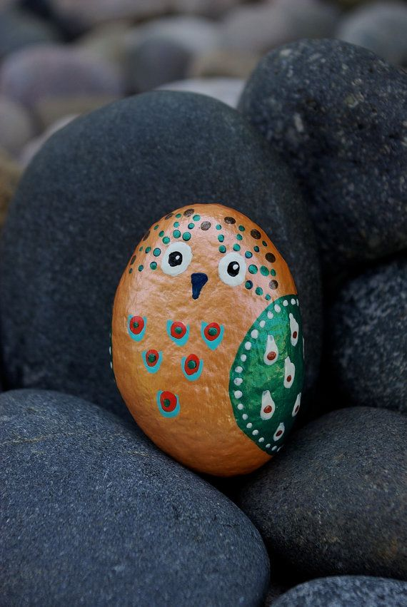 Whimsical pearl orange rock owl with complementary green ...