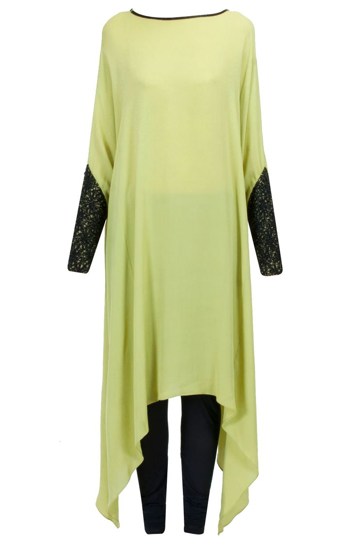 Pistachio green bead embroidered kaftan kurta set available only at Pernia's Pop-Up Shop.