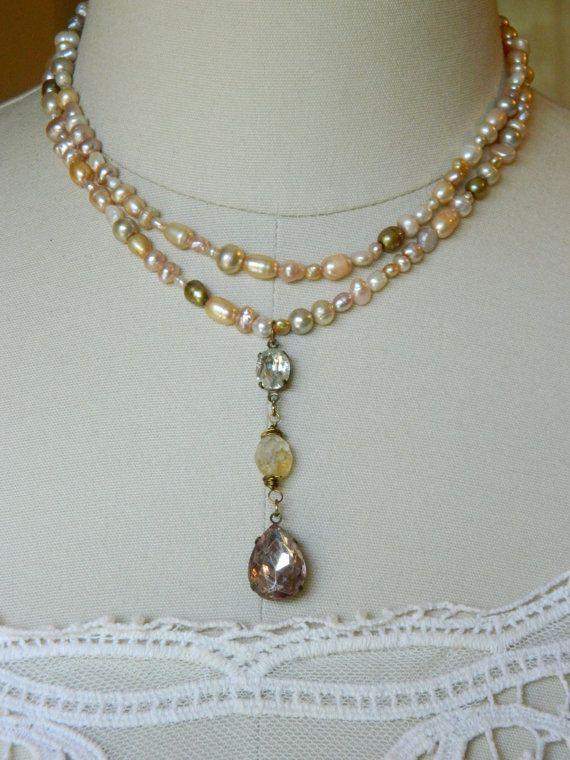 repurposed vintage jewelry pink freshwater pearl necklace citrine double strand woman bridal rhinestone atelier paris