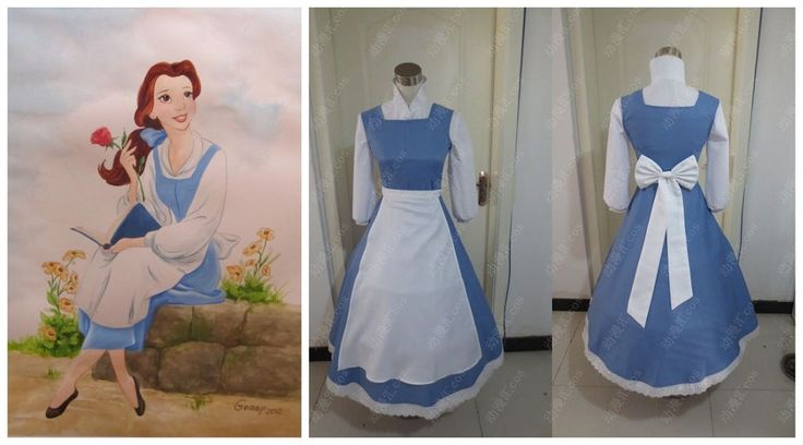 Beauty And The Beast Belle cosplay Kostüm Princess Maid Kleid Apron
