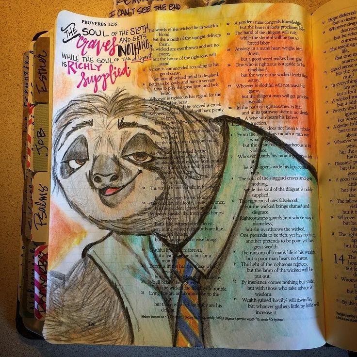 The sloth craves and gets nothing... #bible #biblejournaling…