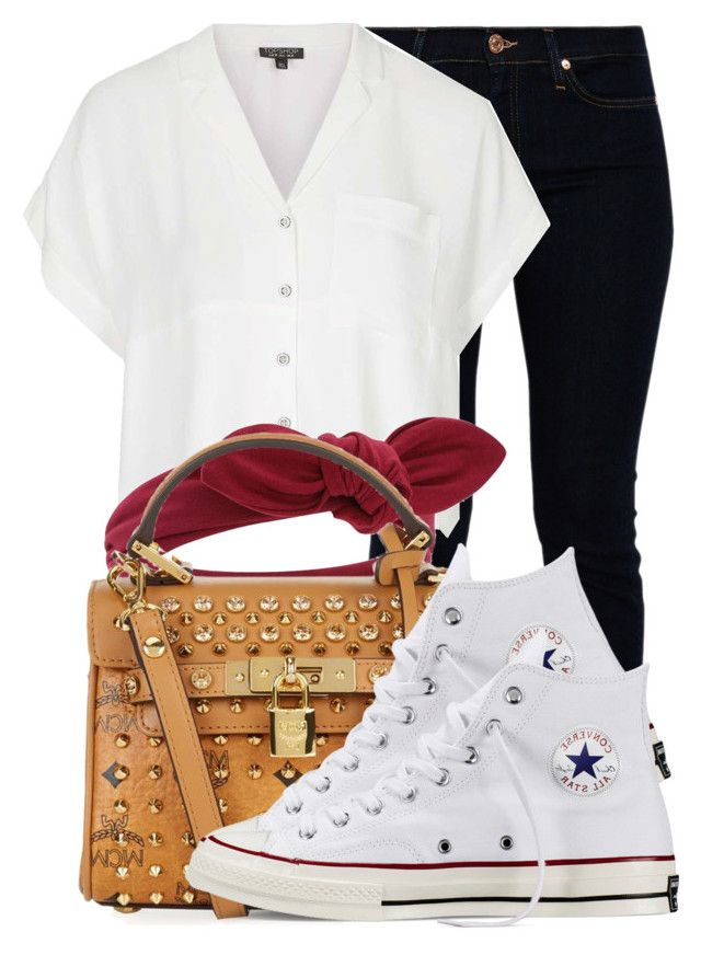 """."" by ray-royals ❤ liked on Polyvore featuring 7 For All Mankind, Topshop, MCM and Converse"