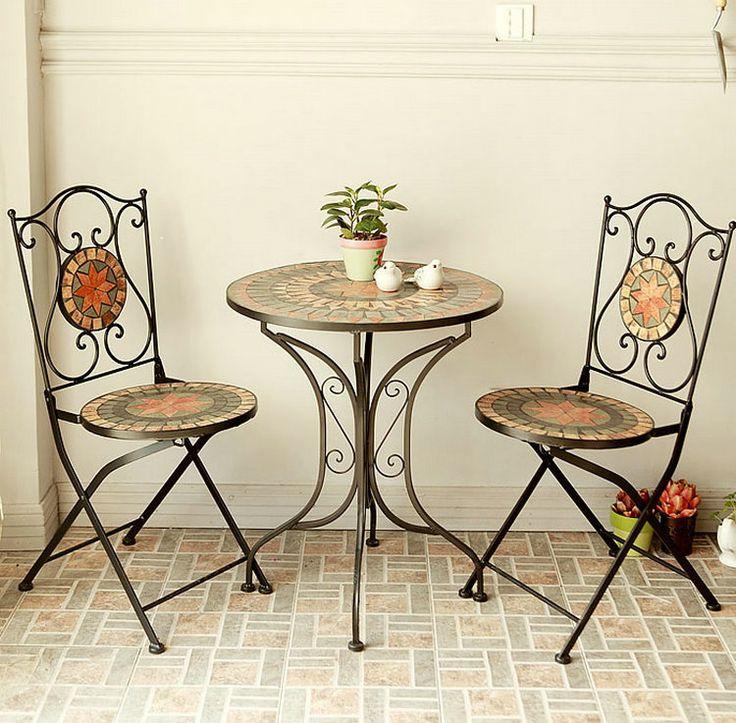 Continental hierro muebles, mesa de café y sillas para exterior recreación mosaico mesa de café y sillas de tres piezas shipp libre(China (Mainland))