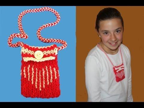 mini bolso con gomitas o ligas. Mini purse Rainbow Loom - YouTube