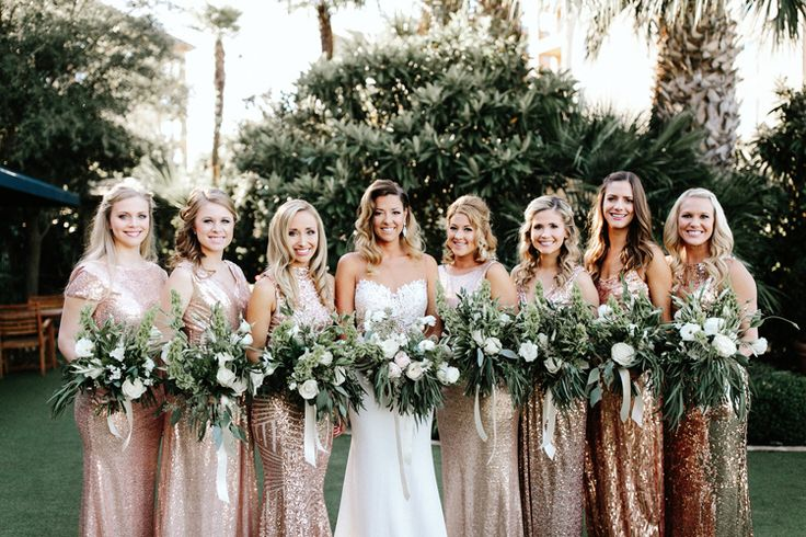 Rose gold sparkly bridesmaid dresses | modern bridesmaid dresses | mismatched bridesmaid dresses | sequin bridesmaid dresses | metallic bridesmaid dresses (Gloria Goode Photography)