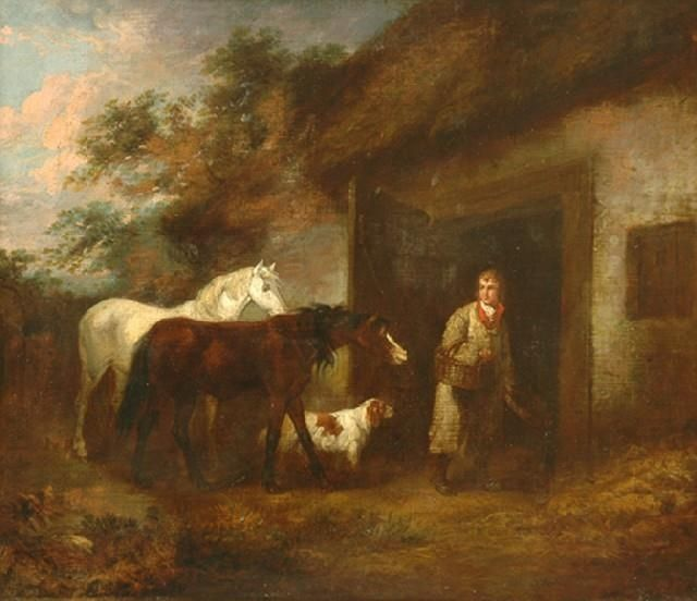 George Morland - The Horse Feeder