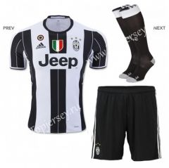 2016-17 Juventus Home White and Black Kids/Youth Soccer Uniform With Patches and Socks