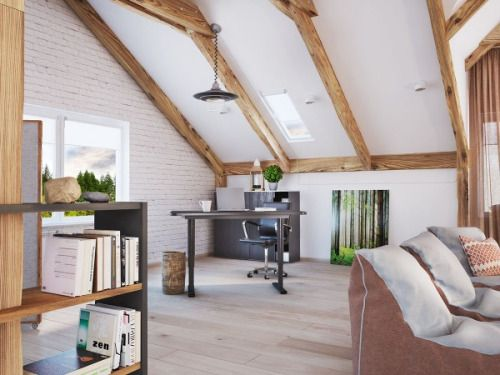 A slanted ceiling gives even the most cramped space an almost ethereal feel