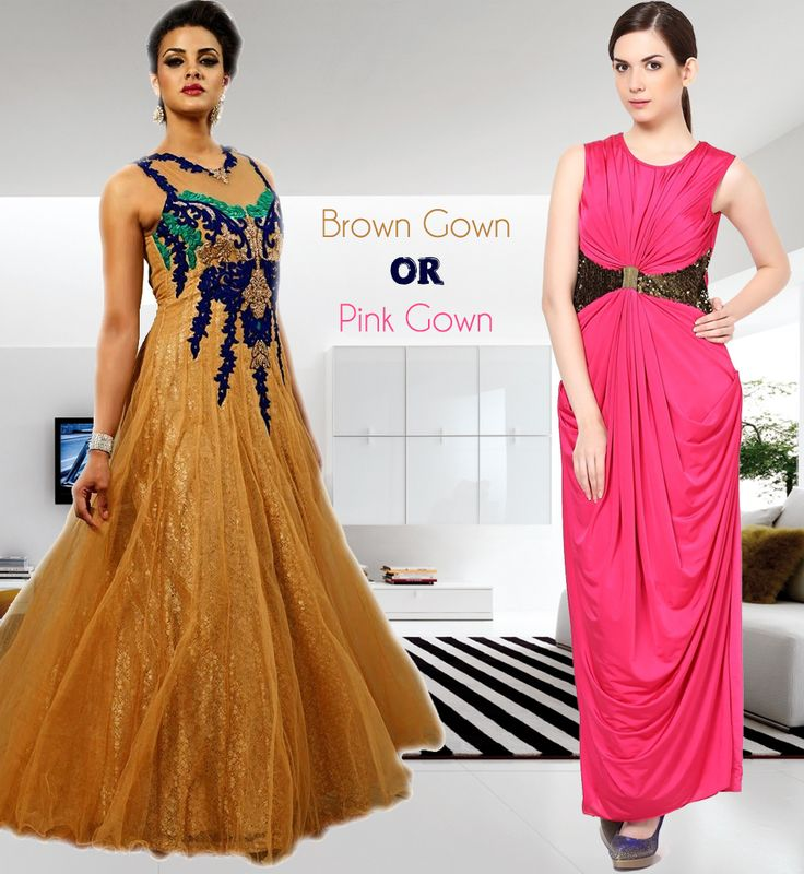 #evening #gowns #pink #brown #embroidery  Shop @  http://bit.ly/1TnygkD and http://bit.ly/1BdhDSS