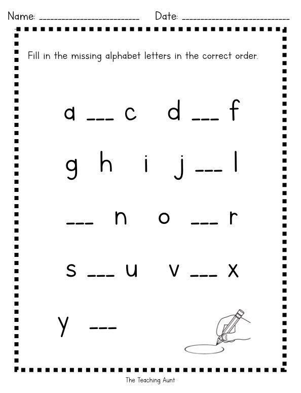 Free Missing Lowercase Letters Worksheets Missing Letter Worksheets Alphabet Letter Worksheets Letter Worksheets Kindergarten worksheets letters pdf