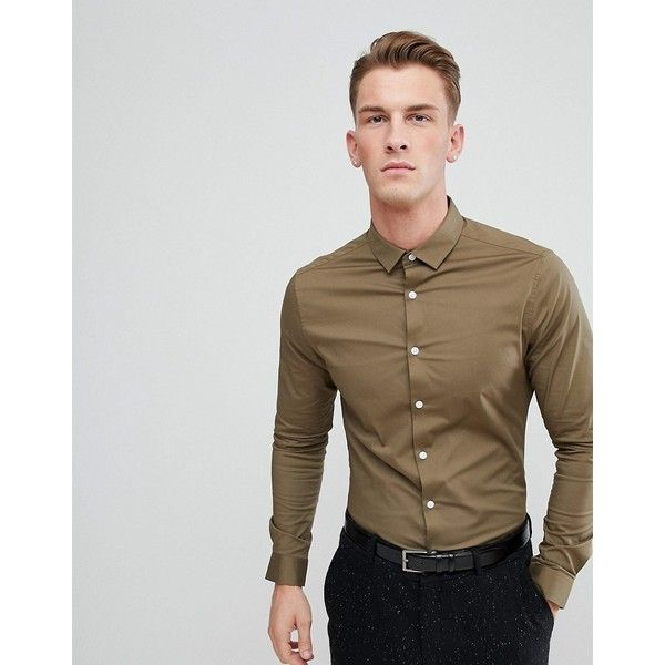 08052b226514 ASOS DESIGN skinny shirt in khaki ($32) ❤ liked on Polyvore featuring men's  fashion, men's clothing, men's shirts, men's casual shirts, green, asos mens  ...