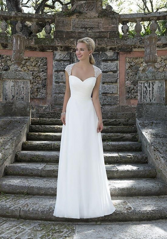 Beaded cap sleeves accent this sweetheart neckline Cinderella ball gown with a ruched chiffon bodice | Sincerity Bridal | https://www.theknot.com/fashion/3905-sincerity-bridal-wedding-dress