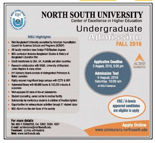 North South University Admission Circular 2016. This is the admission of fall session 2016-2017. Applicants may apply till .. NSU Admission Result.....