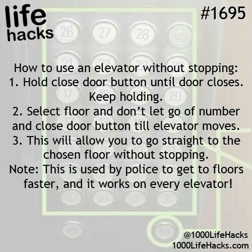 Life Hacks - How to use an elevator without stopping!