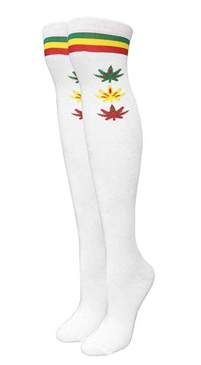 be80023253bdb Women s White Rasta Marijuana Weed Leaf Over the Knee Fashion Socks ...
