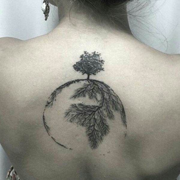 This black and gray tattoo depicts a tree growing at the North Pole while the roots of the tree run into the earth and create the continents. The tattoo is located about three inches below the base of the wearer's neck.