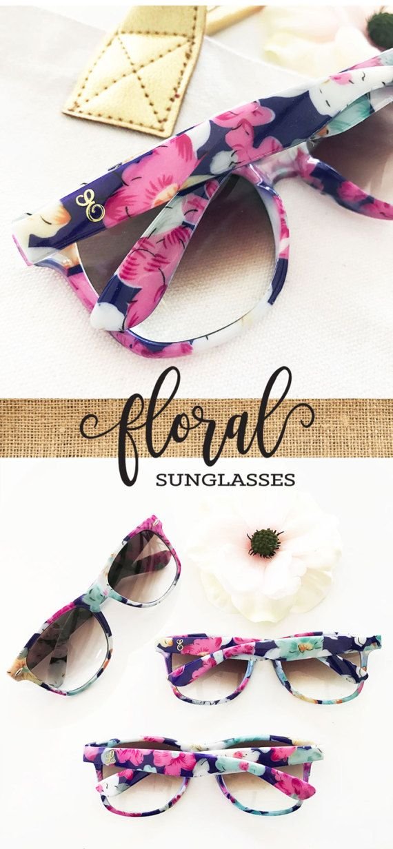 Monogram Sunglasses Bridesmaid Sunglasses Unique Bridesmaid Gift Bridal Shower Gift Floral Bridal Shower Favors Floral Sunglasses (EB3203M)