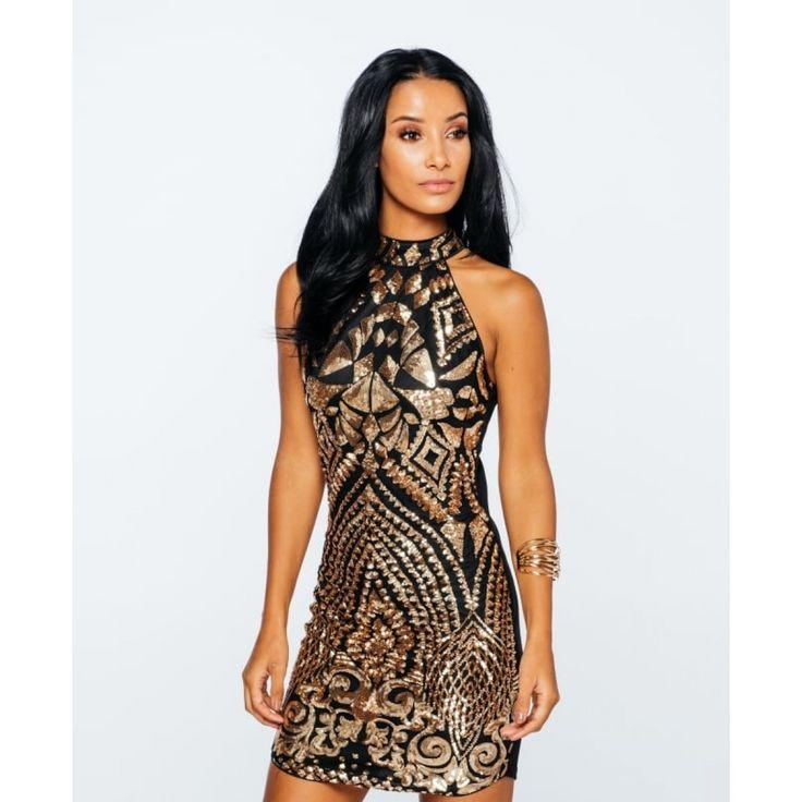 Fashioner Patterned Sequin Embellished Halterneck Dress - PARTY ON - WOMEN