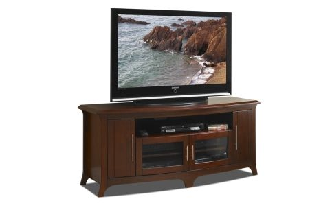 "TECHCRAFT 64"" WIDE, CURVED FRONT CREDENZA, SOLID WOOD AND VENEER IN A WALNUT FINISH #EOS6428"