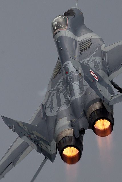 "Mig 29 "" - Ballistic Climbout by PhoenixFlyer2008 on Flickr.  Via Flickr: Polish Mig 29 Display pilot climbs up and away from Fairfordwww.airteamcanon.co.uk"
