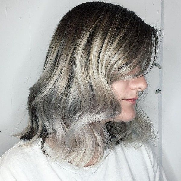 blond gray highlights on black lob
