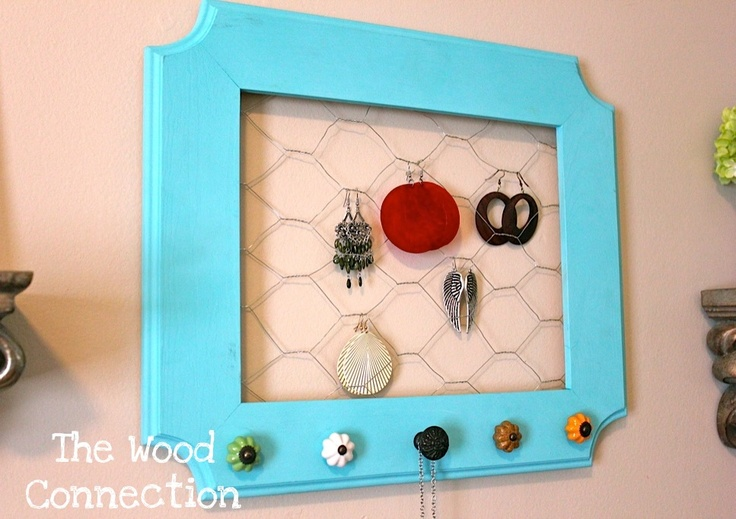 Earring and Necklace hanger tutorial.  Only thing is I would need a much larger frame. :)