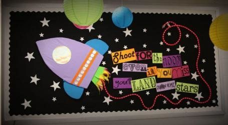 Shoot for the Moon Display, classroom display, class display, Space, planet, planets, moon, stars, rocket, Early Years (EYFS), KS1