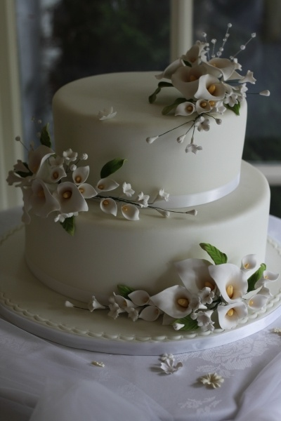 Calla Lilly Wedding Cake By SweetCakers on CakeCentral.com