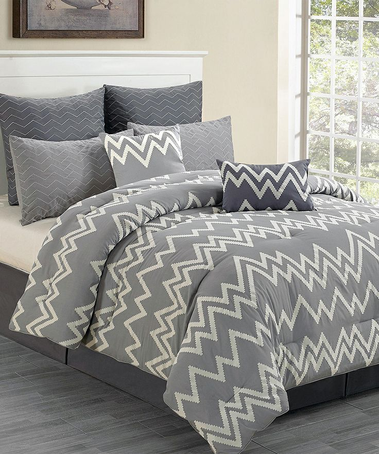 Gray Devin Flocking Overfilled Comforter Set   zulily