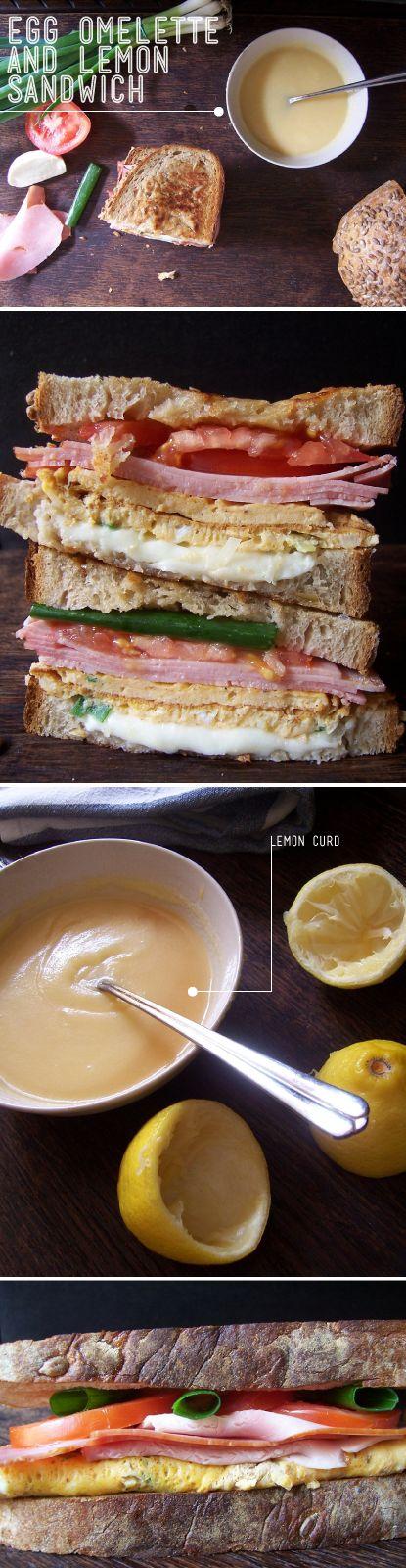 Ham, Mozzarella, Egg Omelette and Lemon Curd Sandwich - oh so good:): Recipes Sauces Oth, Sandwiches Recipes, Sandwich Recipes