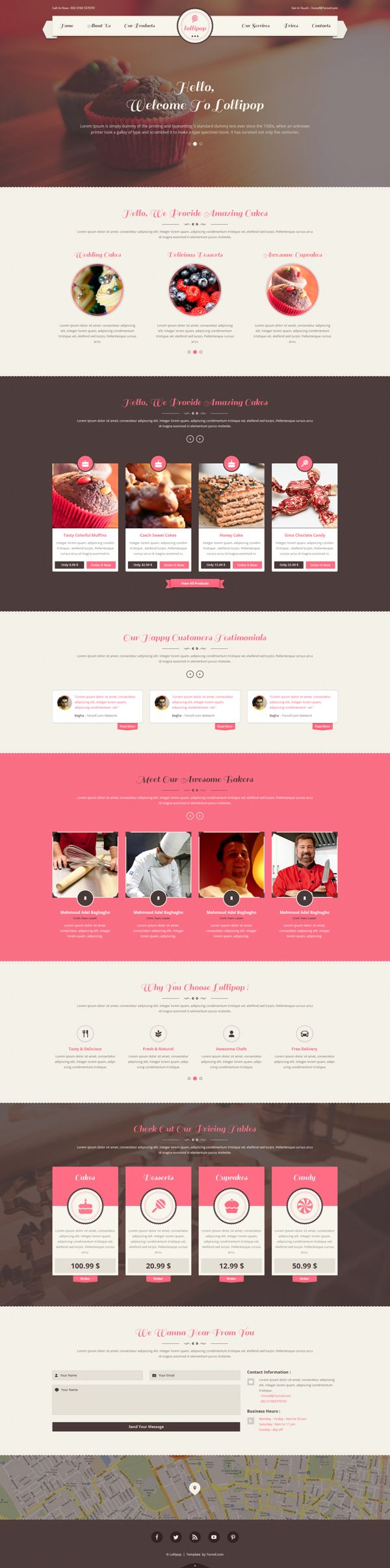 Lollipop - Awesome Sweets & Cakes Template on Web Design Served