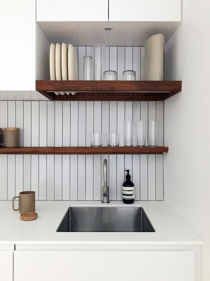 Above The Stainless Steel Sink Is A Custom Oiled Teak Dish Rack Dishes Dry And Live In Same Spot So Counter Never Cluttered With Drying