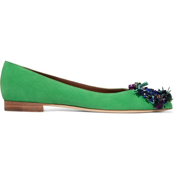Malone Souliers Billie embellished suede point-toe ballet flats ($330) ❤ liked on Polyvore featuring shoes, flats, bright green, green ballet flats, sequin ballet flats, pointed toe ballet flats, slip-on shoes and embellished ballet flats