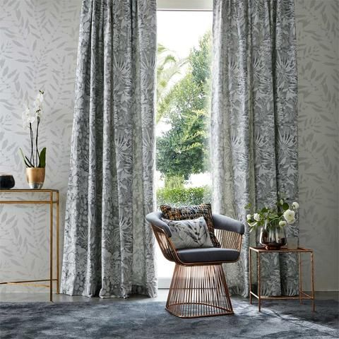 Part of the Anthozoa fabric collection, Coralline is a jacquard weave with a small-scale silhouette design of botanical plants swaying on an inky ground | Buy online