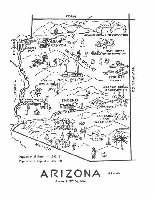 Arizona Map Vintage Reproduction By Hildalea On Etsy Wallart