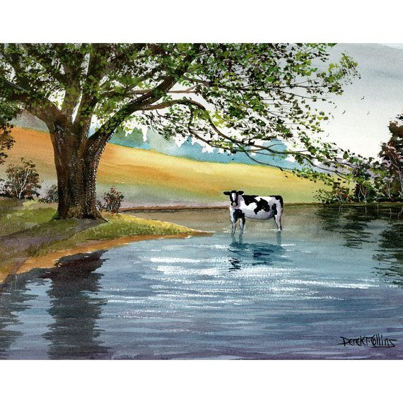 Cow Painting ORIGINAL Watercolor landscape Painting  trees lake river farm animals art americana 11x14