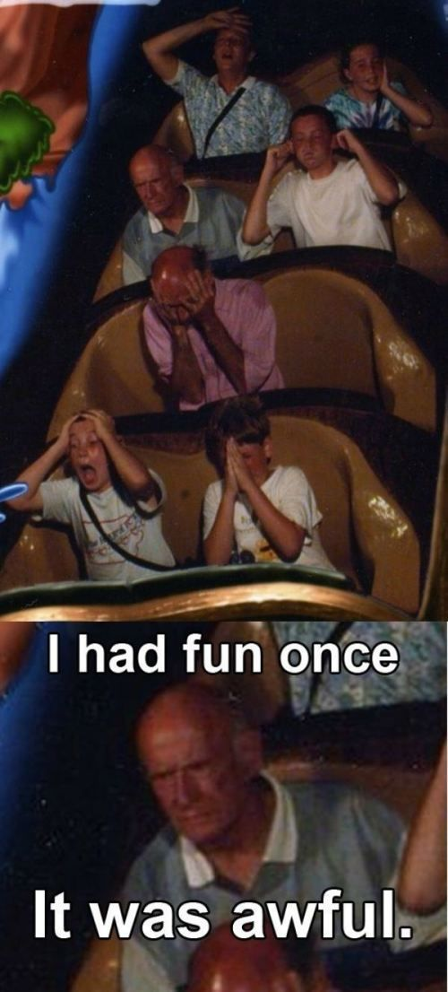 roller coaster hate.see the kid in the front praying to god... yeah.. thats me every time ..