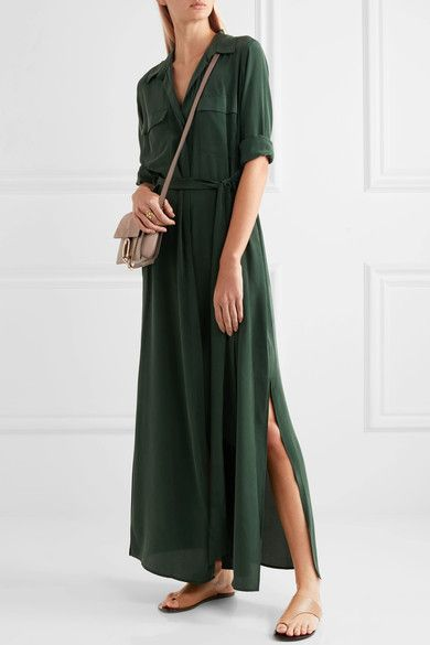 L'Agence - Netaporter.com  Dark-green washed-silk Partially concealed button fastenings through front 100% silk