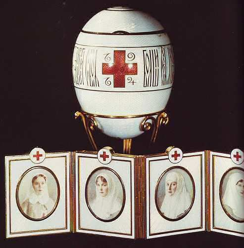 "(1) FABERGE eggs__""Red Cross Egg with Imperial Portraits, 1915. Presented by Nicholas II to Dowager Empress Maria Fyodorovna. Gold, silver, mother of pearl, ivory, diamonds, rock cristal, pearl. Kept in Virginia Museum of Fine Arts, Richmond - Pratt Collection."