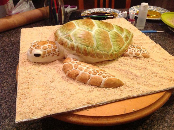Sea Turtle Cake by AsheryW.deviantart.com on @deviantART
