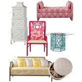 Prep up your palace with some Lilly Pulitzer Queen of Prep Lilly Pulitzer just launched a furniture line, and I am loving it. If you're a fan of bold patterns and bright colors, then you will love it, too. Here's a little taste of what the collection holds. Select pieces are available now through Neiman Marcus online, and the full line is coming soon to lillypulitzer.com. 1. Isadora etagere 2. Rowan bench 3. Boulevard wing chair 4. Seagate gathering height table 5. Paramount daybed 6…