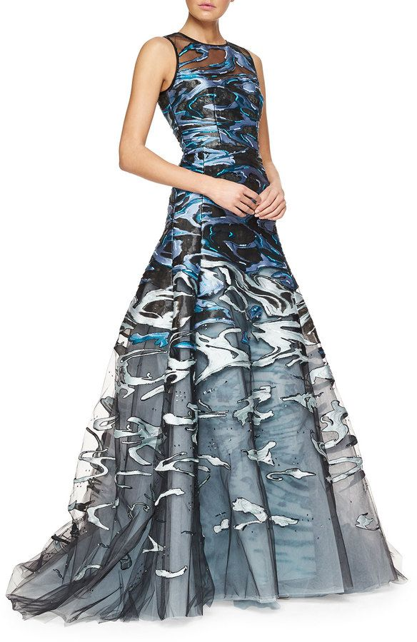 Carolina Herrera Wave Jacquard & Embroidered Tulle Full Gown