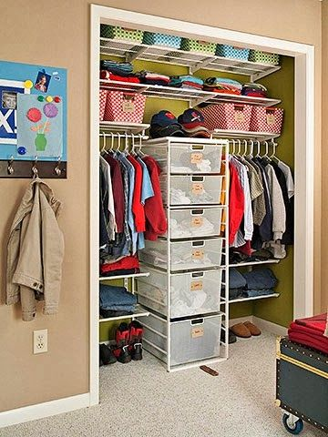 Closet Storage-- Take doors off? Divide closet in half with IKEA cube shelving in middle?