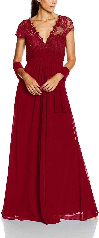 Mascara Damen Kleid Bouble V-Lace, Rot (Weinrot), Gr. 18