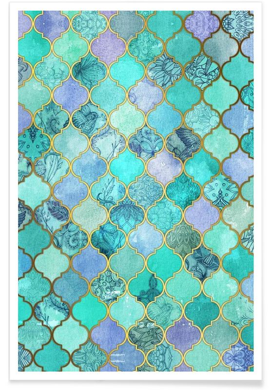 Mint Moroccan Tile Pattern als Premium Poster von …