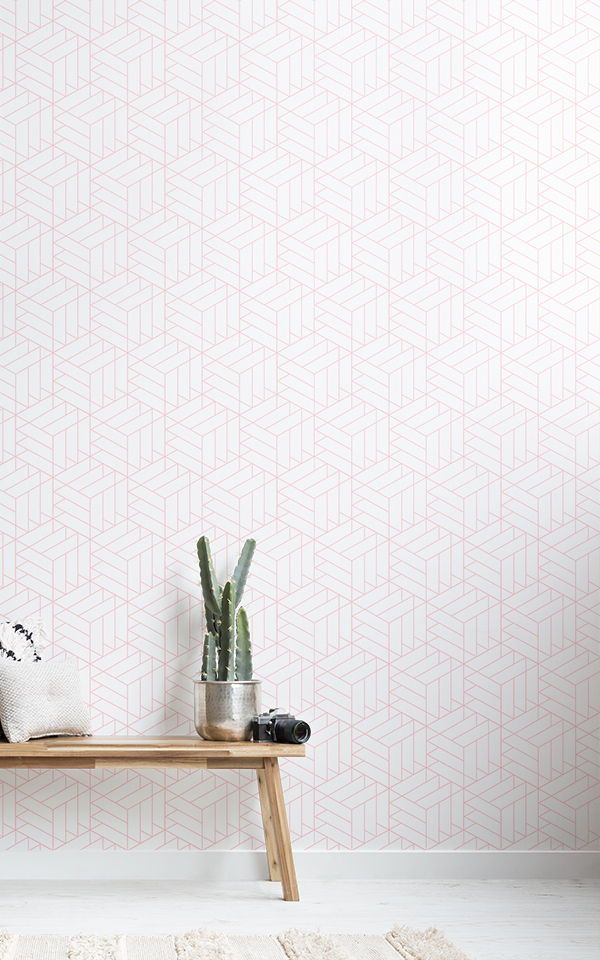 Pink Geometric Cube Wallpaper Modern Design Muralswallpaper Decoracion De Pasillos Papel Pintado De Ladrillo Blanco Decoraciones Del Pasillo