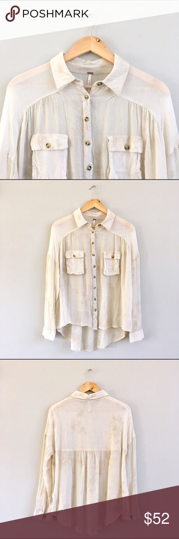 Free People HiLo Cream Field Shirt A great twist on a classic closet staple, this Free People semi-sheer button down has a flowy, feminine back and all over subtle brown pattern. Bust: 22in, shoulder to hem: 24in, 100% rayon. Gently worn, excellent condition. Free People Tops Button Down Shirts