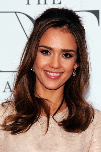 Jessica Alba Half Up Half Down: Hair Ideas, Hair Styles, Down Hairstyles, Alba Half, Wedding Ideas, Jessica Alba, Wedding Hairstyles, Hair Color