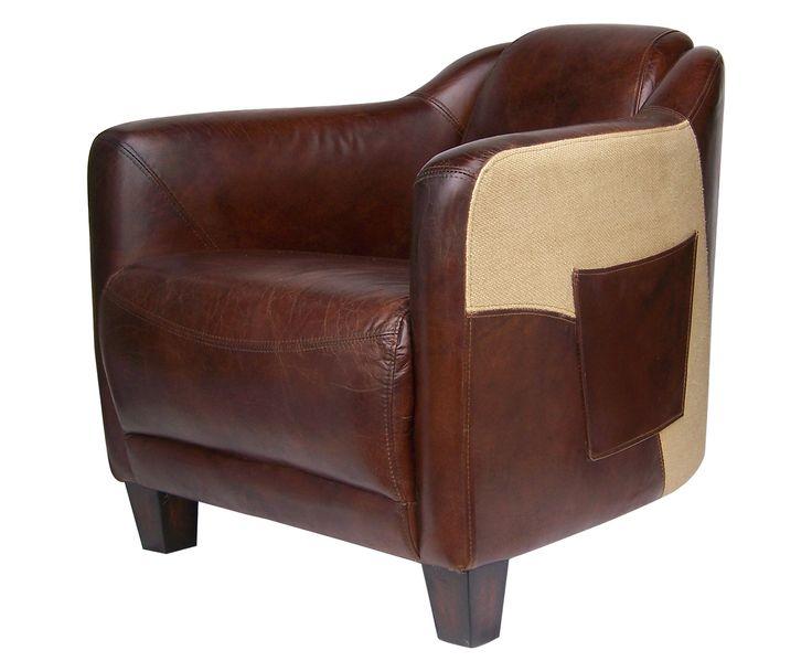 Коричневая кожаная обивка этого чудесного кресла украшена светлыми вставками и карманами.             Метки: Кресла для дома, Кресло для отдыха.              Материал: Дерево, Кожа натуральная.              Бренд: American Interiors.              Стили: Лофт.              Цвета: Темно-коричневый.