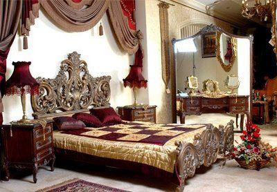 Baroque Bedroom Furniture.  Lovely scroll cutwork on headboard & footboard